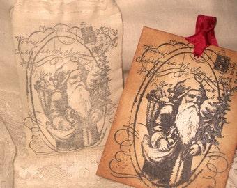 Vintage Christmas Hand Stamped Santa Post Card Gift Tag and Muslin Gift Bag ECS