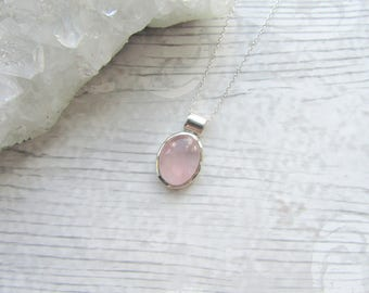 Rose Quartz Gemstone - 925 Sterling Silver Pendant Necklace Natural - Cabochon Bezel Set