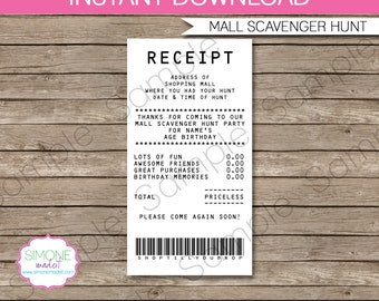 Mall Scavenger Hunt Favor Tags - Thank You Tags - Receipt Tags - INSTANT DOWNLOAD with EDITABLE text template - you personalize at home