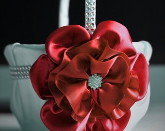 Red Wedding Basket \ Ivory Satin Wedding Flower Girl Basket with Red Satin Flower and Brooch \ Wedding Ceremony Red Basket for Flowergirl