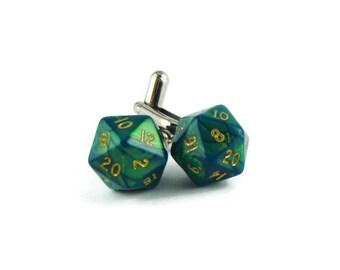 D20 Cufflinks, Mini Green D20 Cufflinks, Mens Wedding Geeky Nerdy