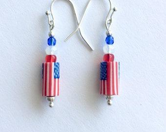 Red white and blue earrings, July 4 earrings, patriotic earrings, polymer clay American flag earrings