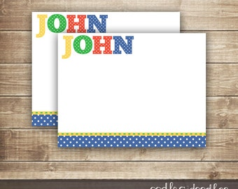 Boy's Personal Stationery / Polka Dots Flat Note Card / Personalized Thank You Note Card - Printable
