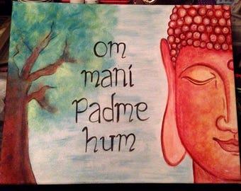 Acrylics on A3 Canvas - Buddha