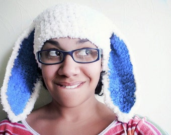 Blue Ears Bunny Hat Adult Size in White and Blue, Crochet Bunny Ears Beanie Flopsy Rabbit Hat, Bunny Costume Women and Girls Hat