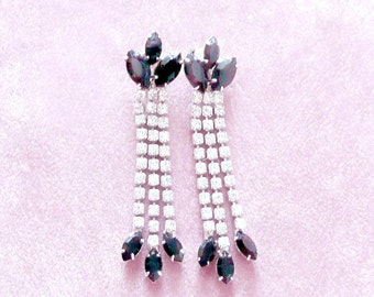Rhinestone Dangle Earrings Black & Clear Super Sparklers Retro Pierced
