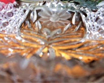 Antique Cut Glass Candy Dish, American Brilliant Bowl, Button and Cane Pattern and Etched Daisies, Formal Dining Crystal, Gift for the Bride