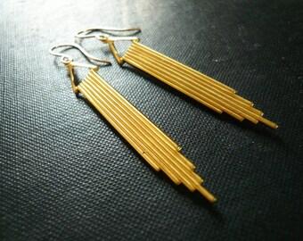 Long Gold Art Deco Earrings - Simple Geometric Earrings. Long Gold Earrings. Gift for Her. Lightweight Gold Earrings.