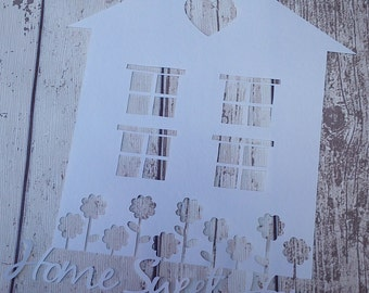 Cut Your Own 'Home Sweet Home' Papercut / Papercutting Template