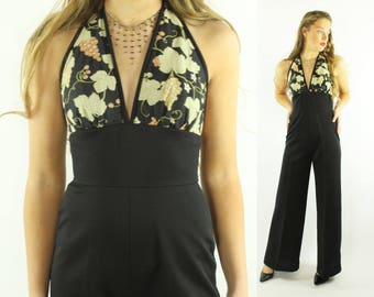 70s Halter Jumpsuit Bell Bottom Pants Floral Top Black Trousers Vintage 1970s Small Disco Hippie Boho Festival
