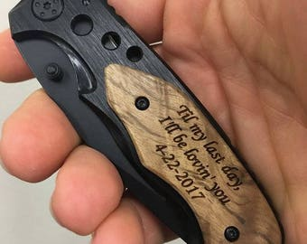 I love you, engraved pocket knife, gift for boyfriend, anniversary gift, wedding gift from bride, gift from wife, gift for groom