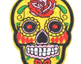 Skull patch embroidered patch applique cotton fusible yellow