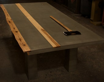 Concrete / Hickory Wood Dining Table