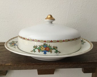 Vintage MEITO Covered Butter Dish with Strainer    3 Piece MEITO Covered Dish  1940's MEITO
