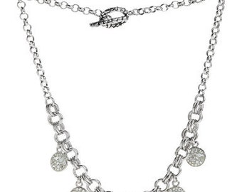 Silver Charms Necklace Encrusted WIth Swarovski Crystals