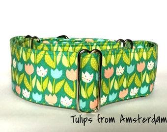 Tulip Design Martingale Dog  Collar , Greyhound Collar , Whippet Collar , Lurcher Collar , Sighthound Collar Large Breed Collar