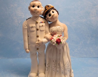 Custom wedding cake topper, Bride and groom cake topper, personalized cake topper, Mr and Mrs cake topper, Military  wedding cake topper
