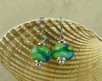 Blue Crush Lampwork Bead Earrings > Tropical Green Blue Hawaiian Exotic Summer Beach Seahawks Seattle - Hypoallergenic Niobium Ear Wires