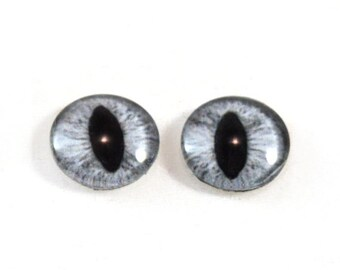 SALE 16mm Gray Cat or Dragon Glass Eye Cabochons - Evil Eyes for Doll or Jewelry Making - Set of 2
