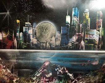 "Spray paint art ""Rainbow City Lights"" 18x22"