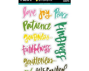 Fruits of the Spirit (Starts shipping 2/16) Illustrated Faith Bible Journaling Clear Stickers