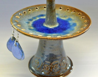 Rings and earring holder, pedestal jewelry organizer with beach glass Made to otder