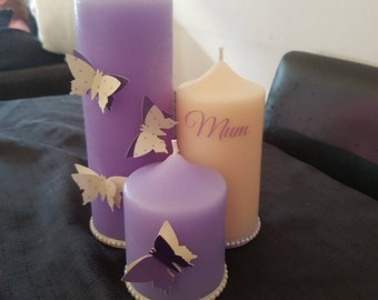 Set of 3 personalised pillar candles