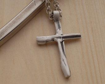 Men's Cross Necklace, Sterling Silver Cross Pendant for Men, Handmade Art Cross, Christian Gift for him ST694