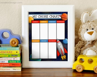 Printable Blast Off Chore Chart, Rockets and Space Chore Chart