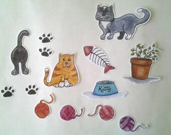 Cat Stickers, unique hand cut art stickers, cat sticker set
