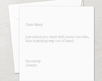 Funny Greeting Card | Funny Quotes | Funny Cards | Mary & Joseph | Typewriter Font | Happy Christmas Card
