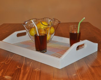 White Wash Pickling Wooden Serving Tray