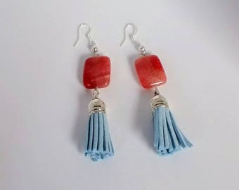 Cherry Agate and Light Blue Leather Tassel Earrings