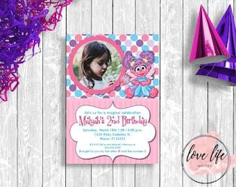 Abby Cadabby Birthday Invitation- Sesame Street Birthday Invitation - Kids Birthday Invitation - Girls Birthday Party- Abby Party- Printable