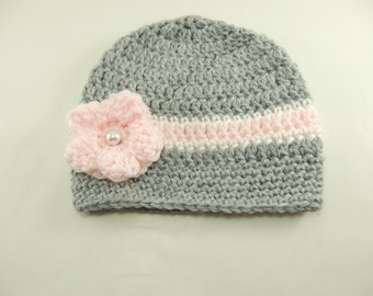 Grey and Pink Crochet Hat with Pink Flower