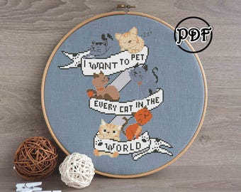 Kitten cross stitch pattern pdf Cat embroidery hoop art Cat lover Gift for her Wall art Mom gift Fiber art Cross stitch pattern modern