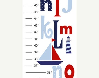 Personalized Red & Navy Nautica Boat Alphabet Canvas Growth Chart