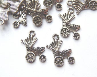 5 charms 19x12mm baby carriage stroller silver