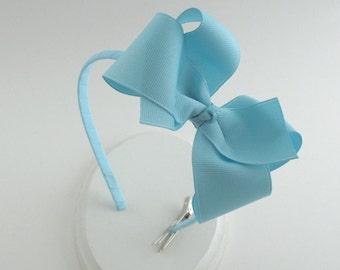 CLEARANCE ~ Pastel Baby Blue Big Girl Headband, Big Girl Headband, Hard Headband, Light Blue Bow on Plastic Headband
