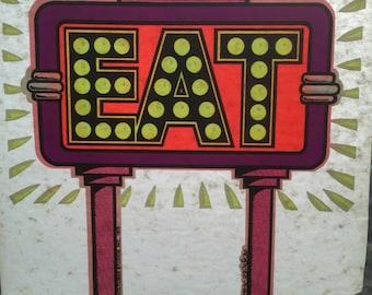 Eat Retro Sign Vintage 1975 Holoubek Studios Iron On Heat Transfer