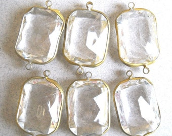 Huge Crystal clear Acrylic Brass Channel Set Faceted 2 Loop Charms, Connector Bead Rivoli, 6