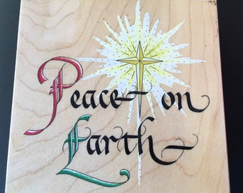 Peace on Earth Stamps Happem,Inc Rubber stamp