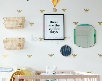 Bee Wall Decal with Honey Bee Wallpaper or Wall Stencil Effect. Removable Wall Decals for Baby Nursery. Home Decor / Wall Decor LSWD-0124TF