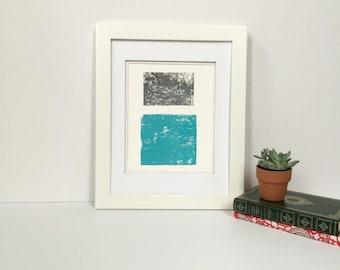 Light Blue and Grey Summer Minimalist linocut art 9x12 limited edition