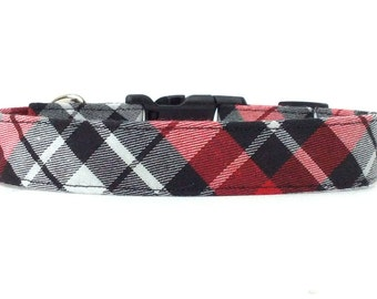 Madison Plaid - Red White and Black Plaid Dog Collar