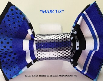 Blue, Black & Gray Striped Bow Tie for Male Dog or Cat