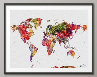 30 off sale world map printable watercolor world map wall watercolor world map watercolor poster watercolor art watercolor map world map deocr print poster map decor gumiabroncs Gallery