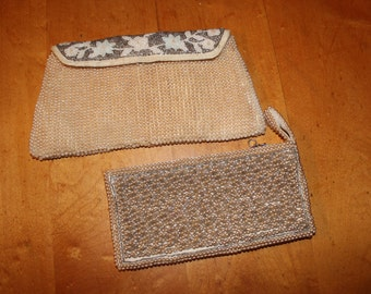 2 Beaded Clutches - Japan Silver Champagne