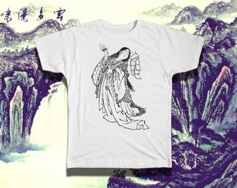 The Goddess Uzume - Black & White Crew Neck Tee - Indie Eye Shirt - Mens Graphic Tee - T Shirts For Men - SCREEN PRINT – Size S M L xL XXL