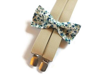 groomsmen/set/of/white/blue/tiny/flowers/bow tie/and/beige/elastic/suspenders/set/for/men/bow tie/adult/suspenders/wedding/outfit/groomsmen